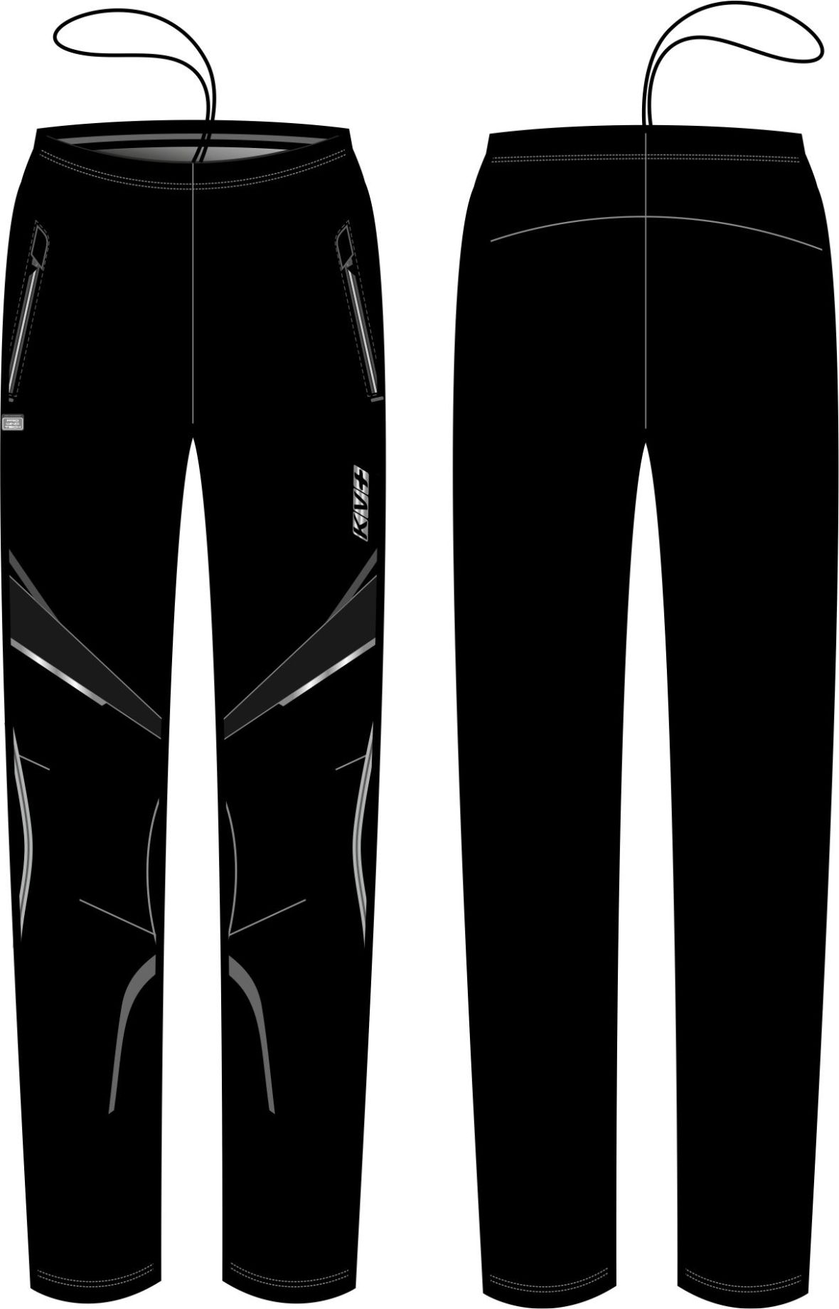 DAVOS PANTS UNISEX half side zip (black)