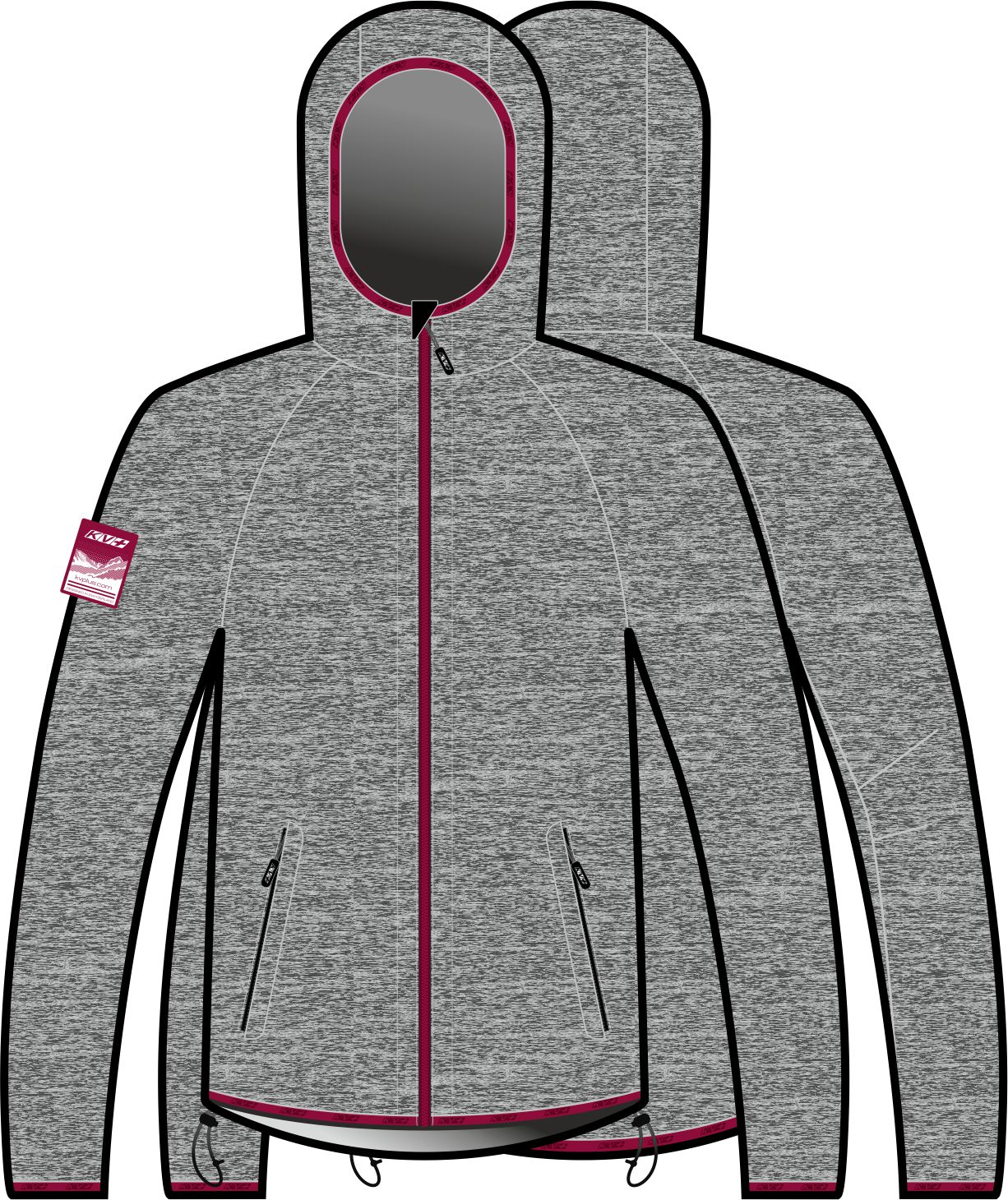 JERSEY FOCA woman with hood (gray/purple)